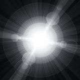 White shining circles and stars gray background Royalty Free Stock Photos