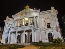 White shining Mahenovo theater in Brno. Contrasts strongly with the darkness of the warm summer night royalty free stock photography