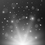 White shining with sparkles flying background Stock Images