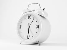 White Shiny Clock. On white background Royalty Free Stock Image