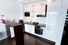 White and shiny kitchen interior. Modern white and shiny kitchen interior Royalty Free Stock Photos