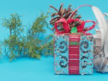 White shiny silver gift box with red ribbon and bow with white square and round shape gift box and pine cone and  branch over brig. Ht blue background in concept Stock Photos