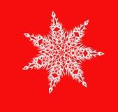 White shiny snowflake close-up on a red background. Christmas illustration, element of festive decoration Stock Photography