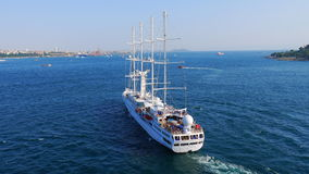 White ship in Bosphorus Stock Images