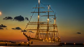 White Ship during Golden Hour Royalty Free Stock Photography