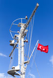 White ship mast with the Turkish flag Royalty Free Stock Image