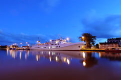 White ship in port  Royalty Free Stock Photography