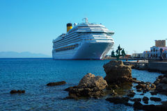 White ship in Rodes port Royalty Free Stock Image