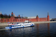 White ship sails on the Moscow river. Stock Images