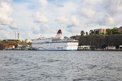 White ship. Stockholm, Sweden - August 11, 2014- White ship at the port of Sodermalm island Stock Image