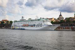 White ship. Stockholm, Sweden - August 11, 2014- White ship at the port of Sodermalm island Stock Photo