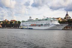 White ship. Stockholm, Sweden - August 11, 2014- White ship at the port of Sodermalm island Stock Images