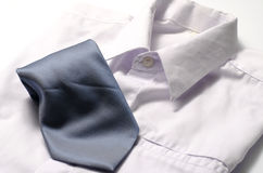 White shirt with blue tie Stock Images