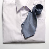 White shirt with blue tie Stock Photo