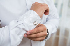 White shirt and cufflink Stock Image