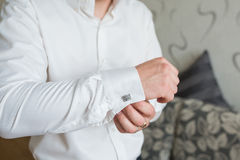 White shirt and cufflink Royalty Free Stock Photography