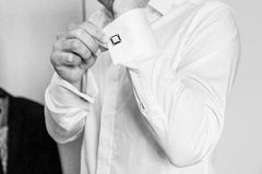 White shirt and cufflink Stock Images