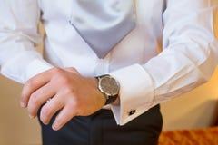 White shirt and cufflink Stock Image