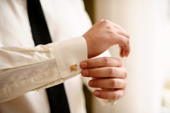 White shirt and cufflinks Stock Photography