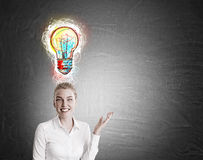 White shirt girl and colorful light bulb sketch Stock Photography