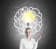 White shirt girl and light bulb and brain sketch Royalty Free Stock Image