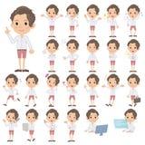 White shirt Half pants uphair Man. Set of various poses of White shirt Half pants uphair Man Royalty Free Stock Image