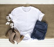 Free White Shirt Mockup - Tshirt With Cotton Plant, Burlap, Boots & Jeans Stock Photography - 178879972