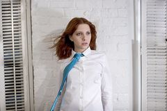 White shirt and tie. Redhead in white shirt and tie Royalty Free Stock Image