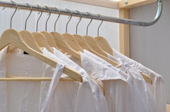 White shirts. White shirt in a wardrobe Stock Photography