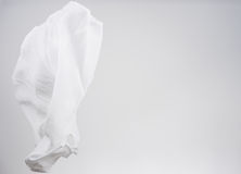 White shirts fabric flying, studio shot , scarf motion Royalty Free Stock Photos