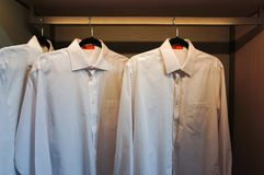 White shirts in the closet Royalty Free Stock Photo