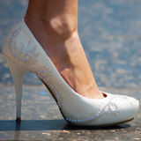White shoe of the Bride Royalty Free Stock Image