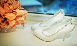 White shoe of the Bride Stock Photo
