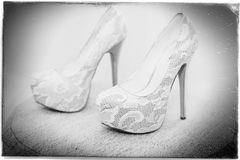 White shoe of the Bride . wedding theme background Stock Photos