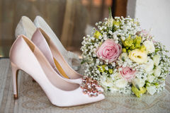 White shoe of the Bride . wedding theme background Stock Photography