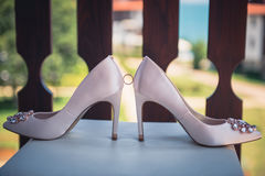 White shoe of the Bride . wedding theme background Stock Image