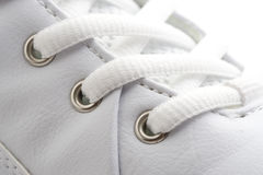 White Shoe close up. White shoe en lace close up stock photography