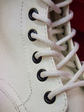 White Shoe Cord. Woman show, white cord close up Royalty Free Stock Photo