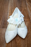 White shoes and bridal garter Royalty Free Stock Photo
