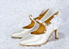 White shoes of bride stock photography