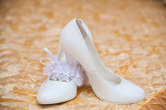 White shoes of the bride close-up Royalty Free Stock Image
