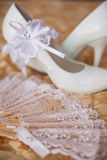 White shoes of the bride close-up Royalty Free Stock Photo