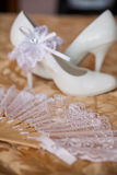 White shoes of the bride close-up Stock Photo