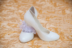White shoes of the bride close-up Royalty Free Stock Photography