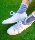 White shoes. Casual canvas Shoes for girl fashion Royalty Free Stock Image