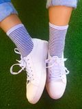 White shoes. Casual canvas Shoes for girl fashion Royalty Free Stock Photo