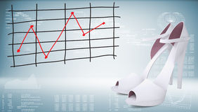 White shoes and graph of price changes. Graphs as backdrop Stock Photography