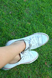 White shoes on a green grass background. Stock Photography