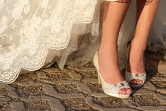 White shoes for wedding Stock Images