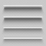 White shop product shelves. Blank empty showcase display, retail shelves. Bookcase vector mockup. White shop product shelves. Blank empty showcase display, 3D vector illustration